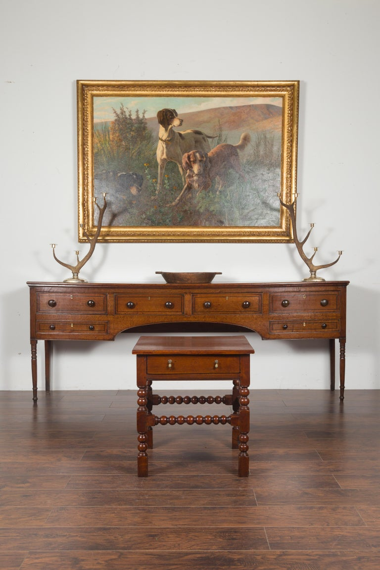 Turned English 1870s Oak Bobbin Leg Side Table with Single Drawer and Stretchers For Sale
