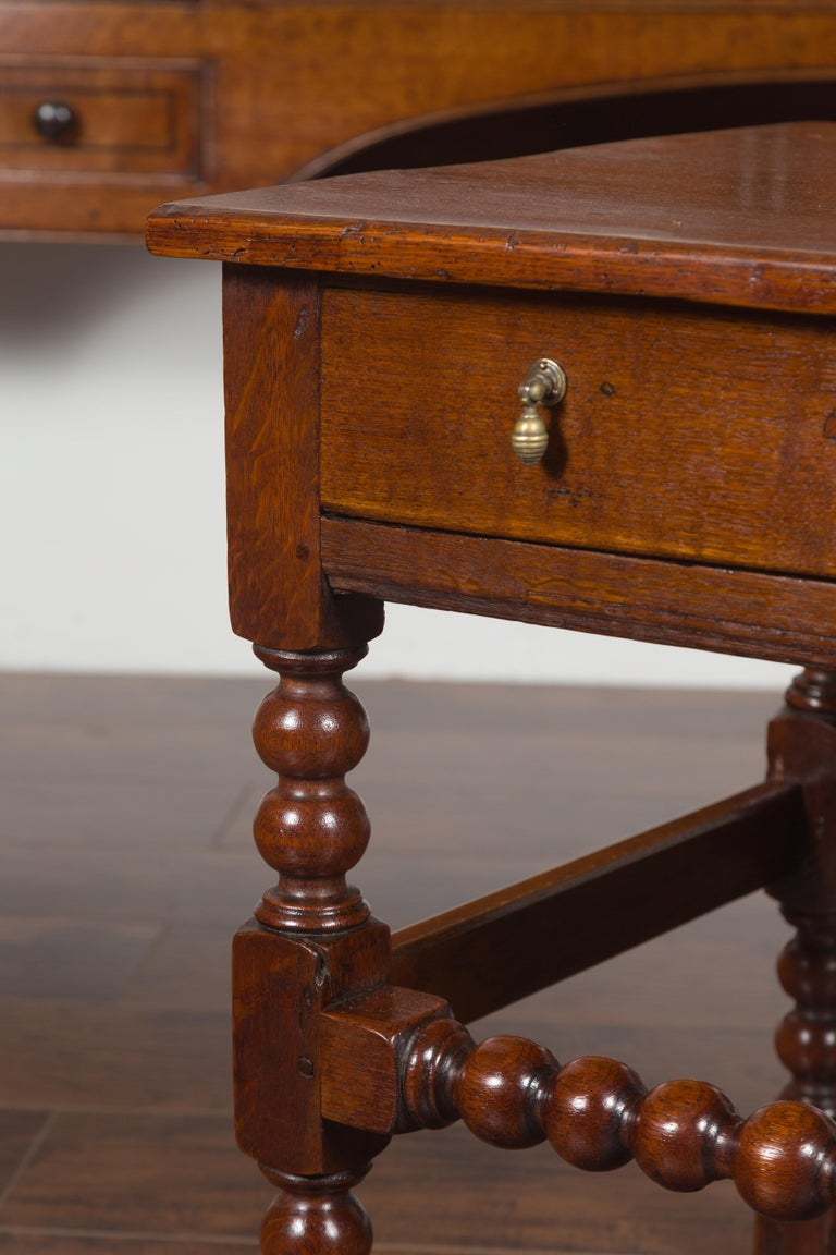 English 1870s Oak Bobbin Leg Side Table with Single Drawer and Stretchers For Sale 1