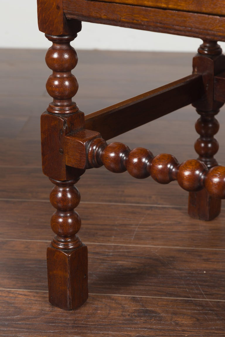 English 1870s Oak Bobbin Leg Side Table with Single Drawer and Stretchers For Sale 2