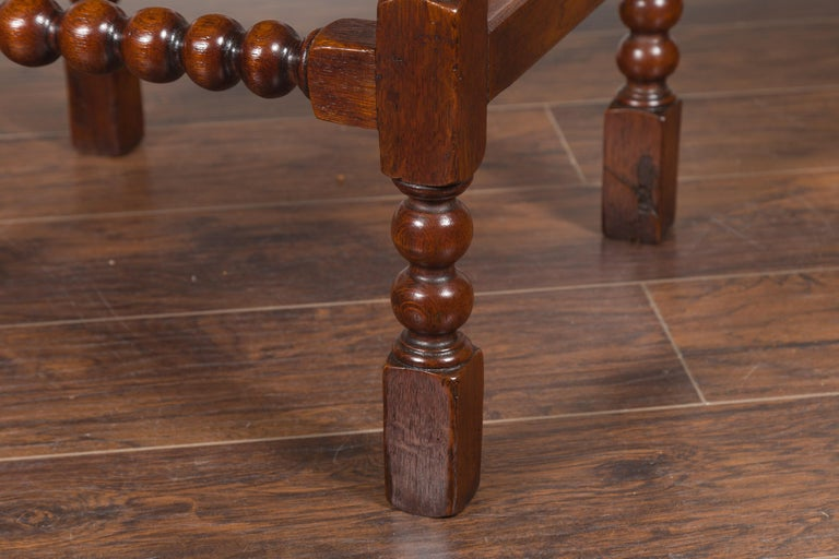 English 1870s Oak Bobbin Leg Side Table with Single Drawer and Stretchers For Sale 3