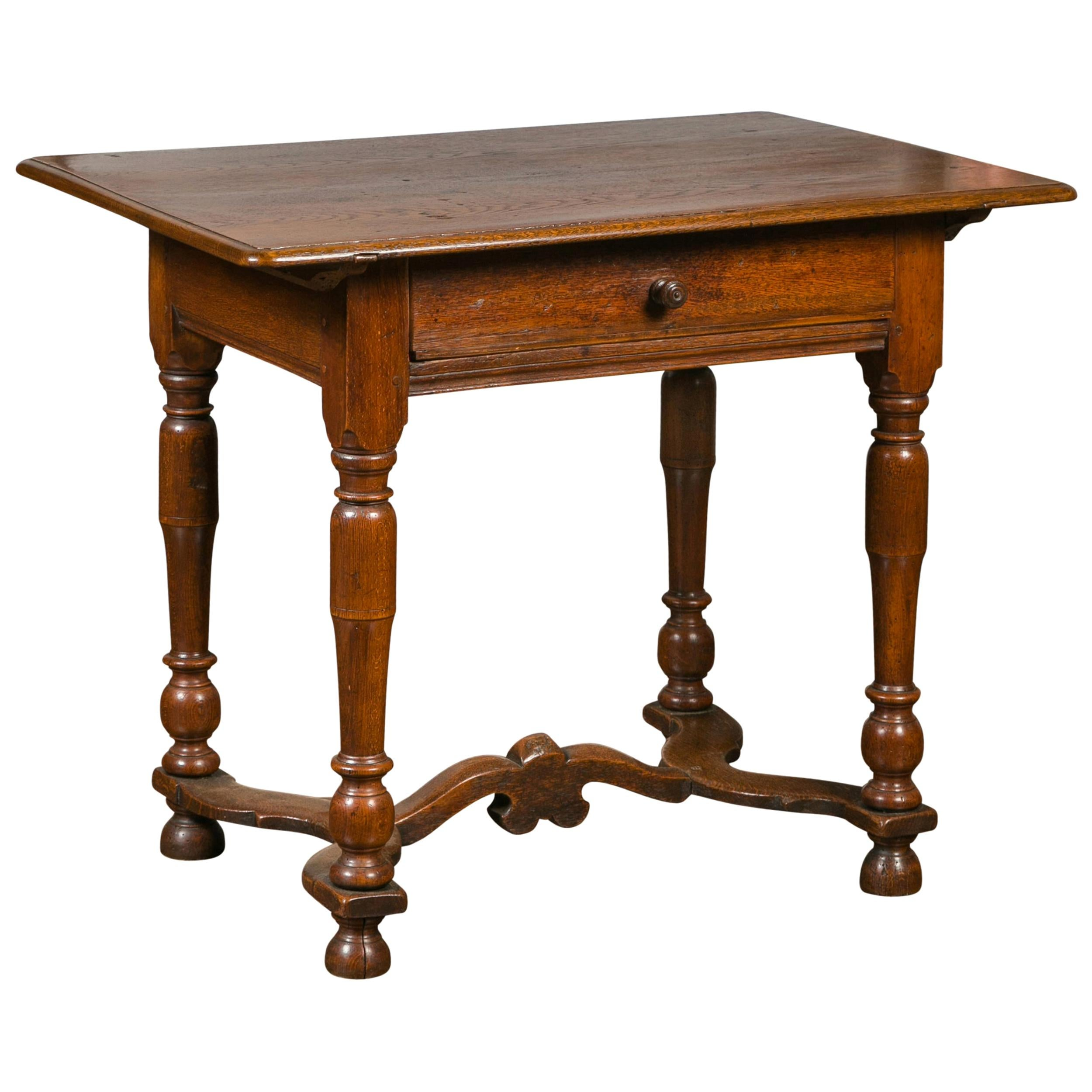 English 1870s Oak Side Table with Single Drawer, Turned Legs and Cross Stretcher