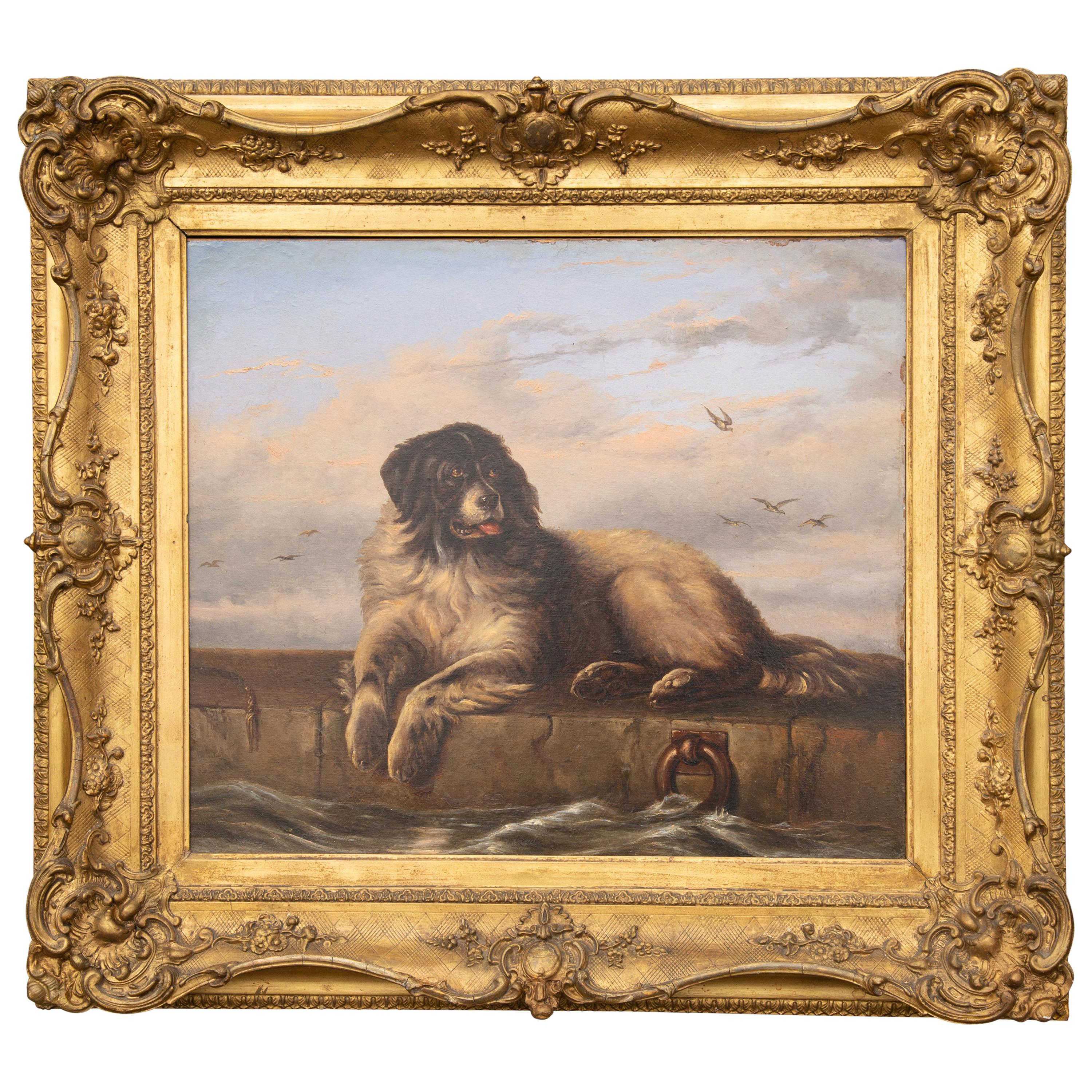 English 1870s Oil on Board Newfoundland Dog Painting after Sir Edwin Landseer
