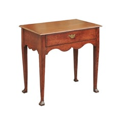 English 1870s Small Oak Side Table with Scalloped Apron, Drawer and Club Feet