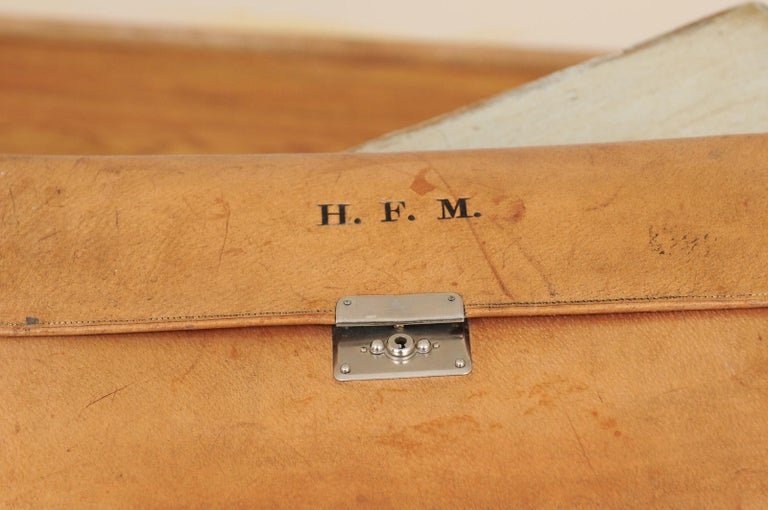 English 1870s Victorian Period Leather Men's Travel Kit with H.F.M Monogram 7