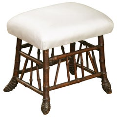 English 1880s Bamboo Stool with Bamboo Root Feet and New Upholstery