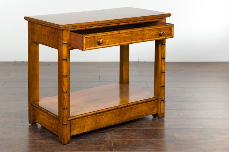 English 1880s Burl Walnut Faux Bamboo Table with Ebonized Accents and Drawer For Sale 6