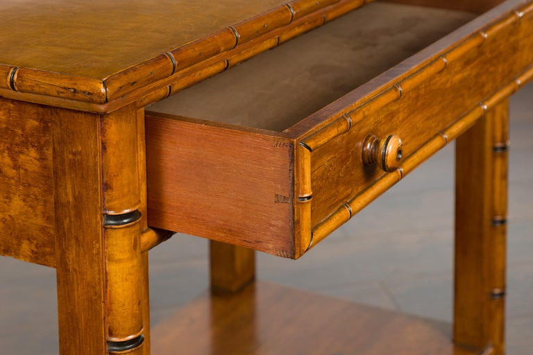 English 1880s Burl Walnut Faux Bamboo Table with Ebonized Accents and Drawer For Sale 7