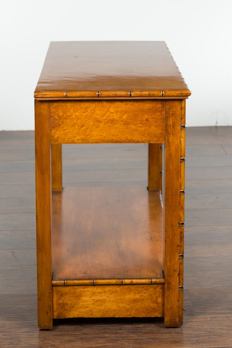 English 1880s Burl Walnut Faux Bamboo Table with Ebonized Accents and Drawer For Sale 8