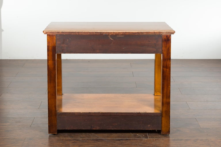English 1880s Burl Walnut Faux Bamboo Table with Ebonized Accents and Drawer For Sale 10