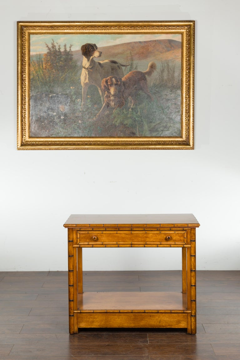 English 1880s Burl Walnut Faux Bamboo Table with Ebonized Accents and Drawer In Good Condition For Sale In Atlanta, GA