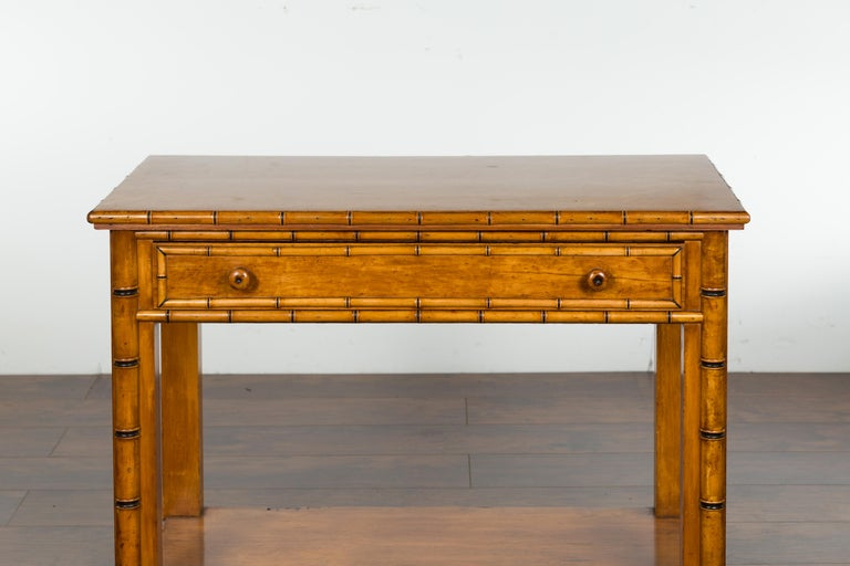 19th Century English 1880s Burl Walnut Faux Bamboo Table with Ebonized Accents and Drawer For Sale