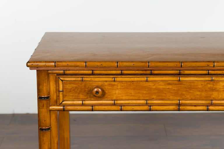 English 1880s Burl Walnut Faux Bamboo Table with Ebonized Accents and Drawer For Sale 1