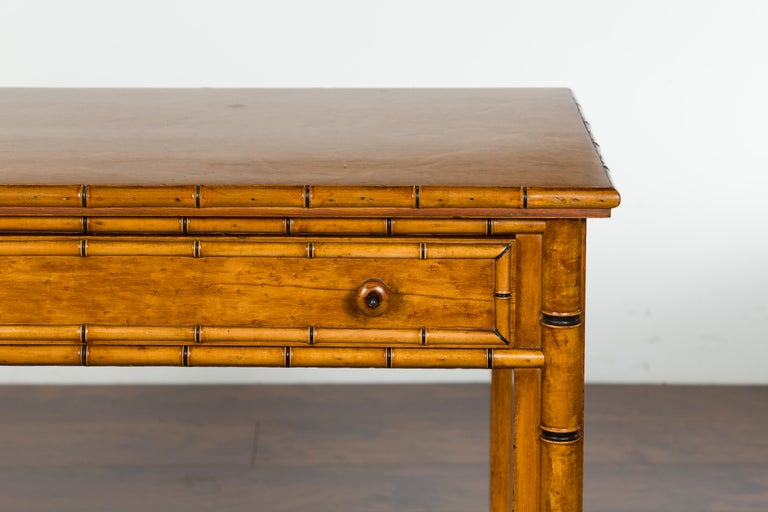 English 1880s Burl Walnut Faux Bamboo Table with Ebonized Accents and Drawer For Sale 2