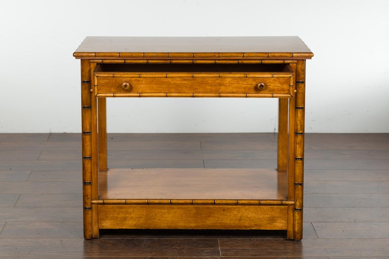 English 1880s Burl Walnut Faux Bamboo Table with Ebonized Accents and Drawer For Sale 4