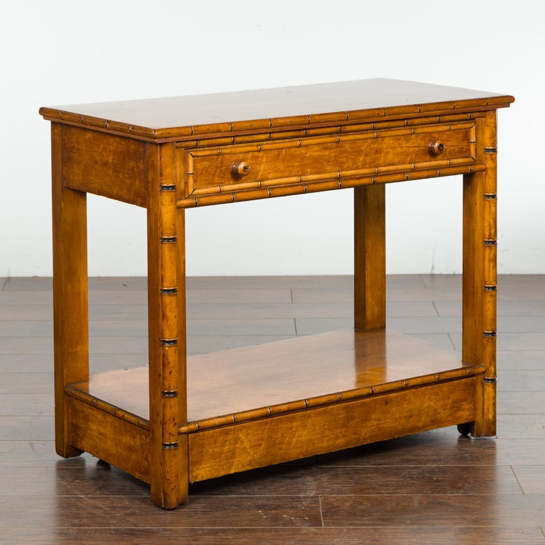 English 1880s Burl Walnut Faux Bamboo Table with Ebonized Accents and Drawer For Sale 5