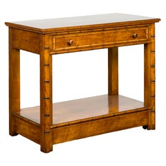 English 1880s Burl Walnut Faux Bamboo Table with Ebonized Accents and Drawer