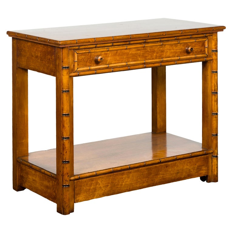 English 1880s Burl Walnut Faux Bamboo Table with Ebonized Accents and Drawer For Sale