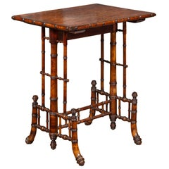 English 1880s Chinese Chippendale Style Faux Bamboo Walnut Side Table