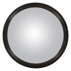 English 1880s Circular Convex Mirror with Reeded Accents and Dark Patina