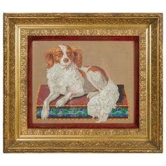 English 1880s Gilt Framed Needlepoint Template Depicting a Spaniel Dog