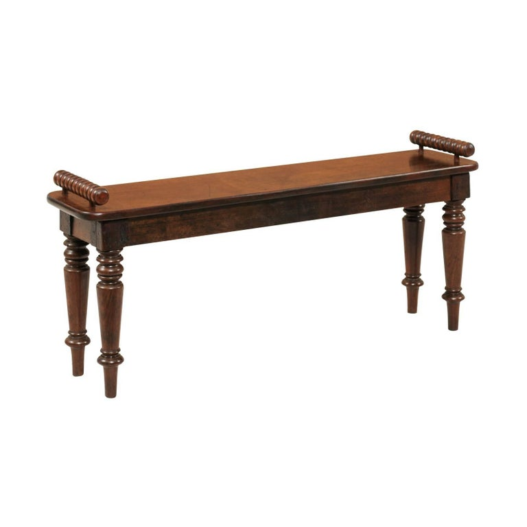 English 1880s Mahogany Hall Bench with Bobbin Armrests and Turned Legs