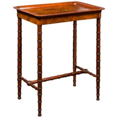 English 1880s Mahogany Tray Top Side Table with Faux Bamboo Base and Drawer