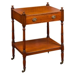 English 1880s Mahogany Trolley with Single Drawer, Lower Shelf and Casters