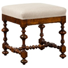 English 1880s Oak Stool with Turned Base and New Linen Upholstery