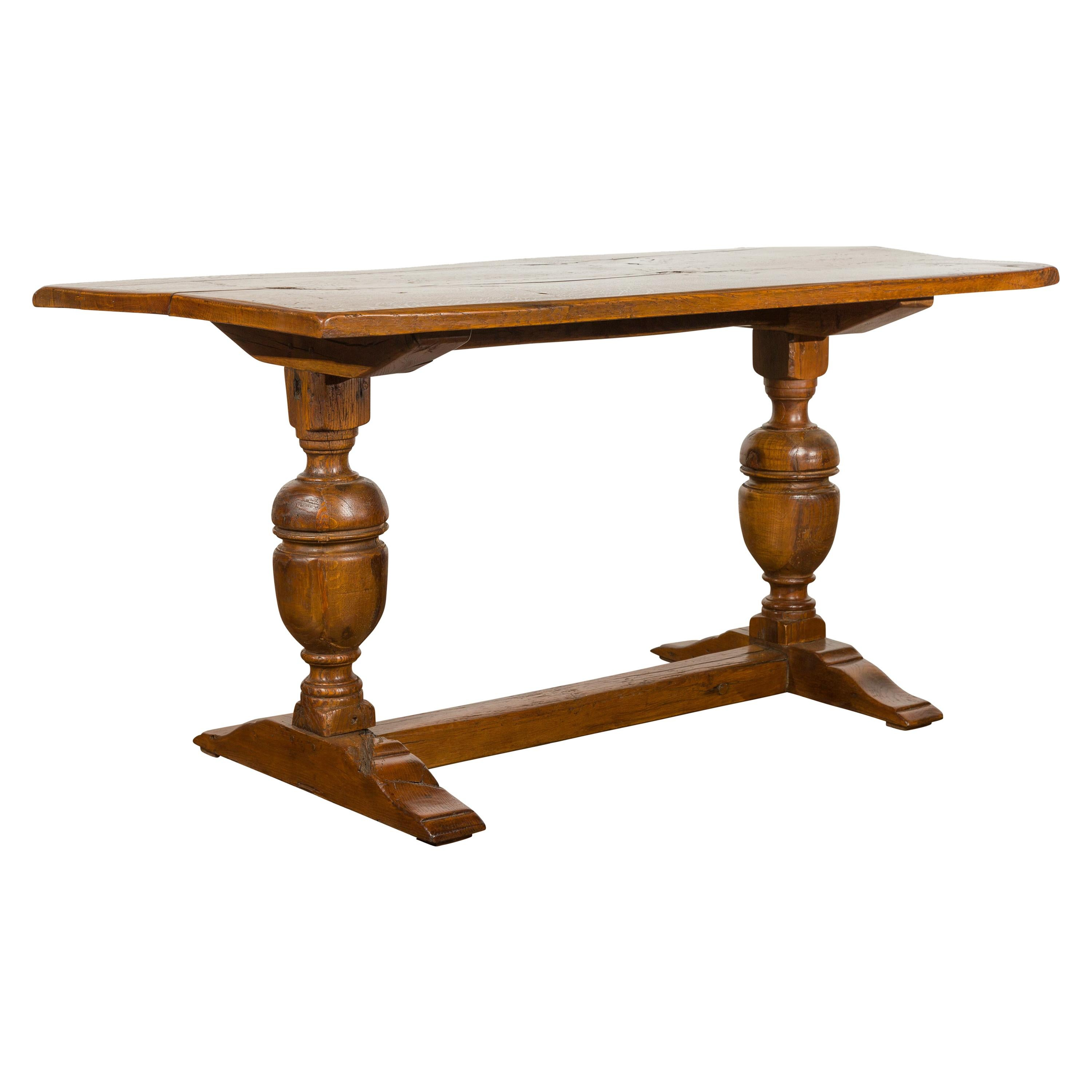 English 1880s Oak Table with Large Turned Legs and Low Cross Stretcher