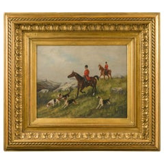 English 1880s Oil on Board Painting Depicting a Hunting Scene, in Antique Frame