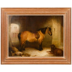 English 1880s Oil on Canvas Horse and Dog Painting from the Circle of Landseer