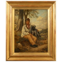 English 1880s Oil on Canvas Painting of a Boy with His Dog in Antique Gilt Frame