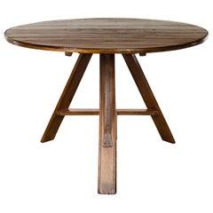 English 1880s Pine Circular Tilt-Top Wine Tasting Table with Metal Strap