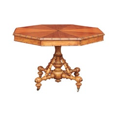 English 1880s Pine Octagonal Table with Faux-Bamboo Base and Radiating Veneer