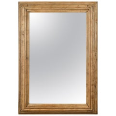English 1880s Rustic Oak Mirror with Molded Frame and Natural Finish
