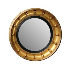 English 1880s Small Gilt and Ebonized Wood Girandole Bull's-Eye Convex Mirror