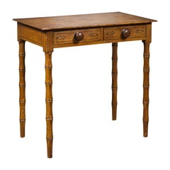 English 1880s Table with Painted Motifs, Two Drawers and Faux Bamboo Legs