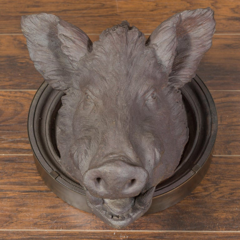 English 1880s Terracotta Hog Head Mounted on New Custom Circular Iron Frame For Sale 4