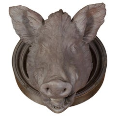 English 1880s Terracotta Hog Head Mounted on New Custom Circular Iron Frame