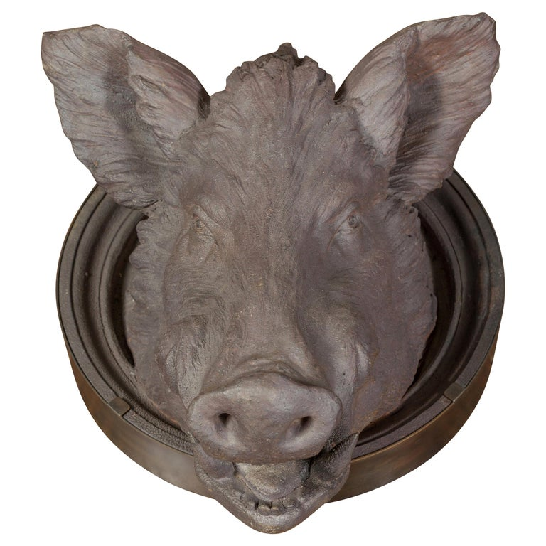 English 1880s Terracotta Hog Head Mounted on New Custom Circular Iron Frame For Sale