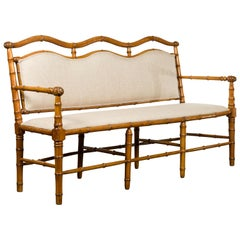 English 1880s Walnut Faux Bamboo Three-Seat Bench with New Linen Upholstery