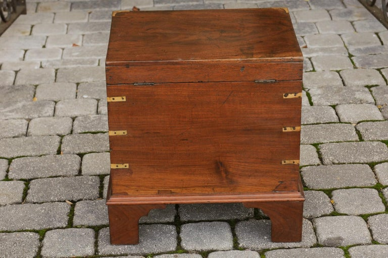 English 1890s Campaign Mahogany Cellarette with Brass Accents and Bracket Feet 10