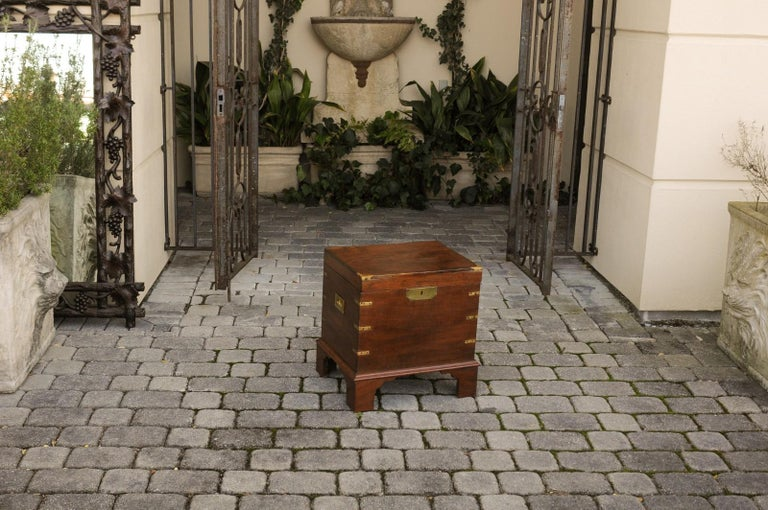 English 1890s Campaign Mahogany Cellarette with Brass Accents and Bracket Feet 3