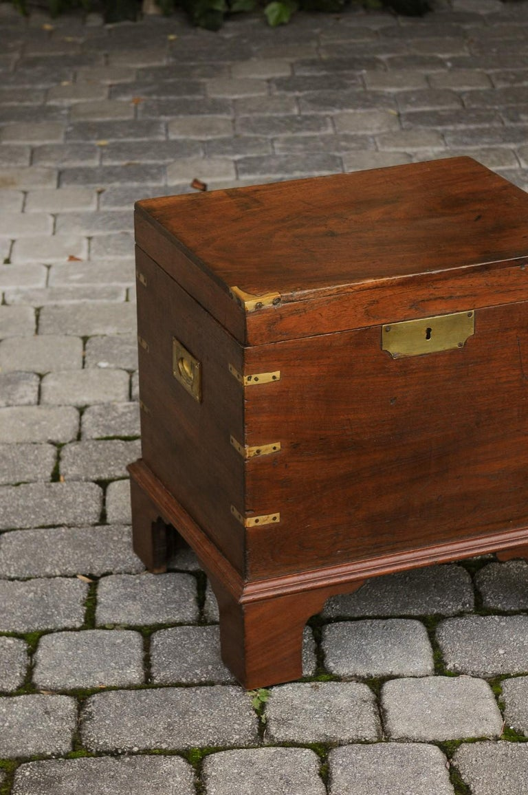 English 1890s Campaign Mahogany Cellarette with Brass Accents and Bracket Feet 4