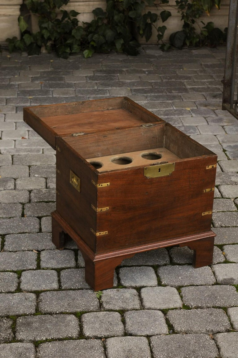 English 1890s Campaign Mahogany Cellarette with Brass Accents and Bracket Feet 6