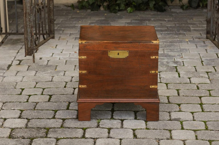 English 1890s Campaign Mahogany Cellarette with Brass Accents and Bracket Feet 8