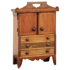 English 1890s Fruitwood Miniature Cabinet with Petite Doors and Three Drawers