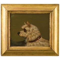 English 1890s Oil on Board Dog Painting Depicting a Terrier in Antique Frame
