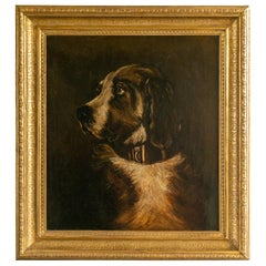 English 1890s Oil on Canvas Dog Painting in Antique Giltwood Frame