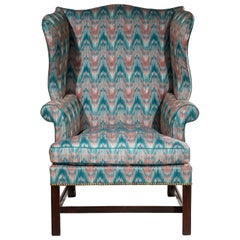 English 18th Century Chippendale Period Mahogany Wing Chair in Flamestitch